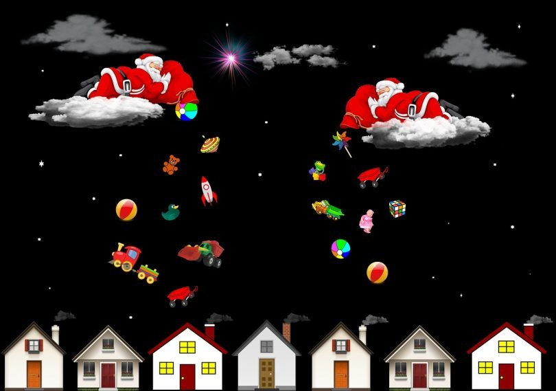Santas dropping gifts