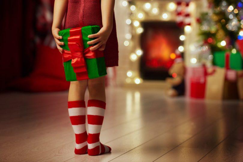 Child holding gift