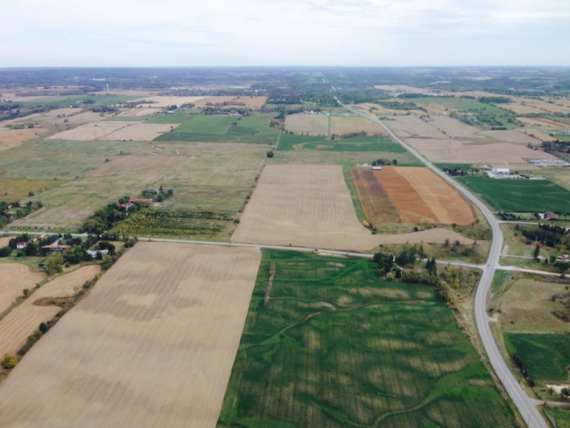 Farm view from helicopter