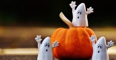 Pumpkin and playful ghosts