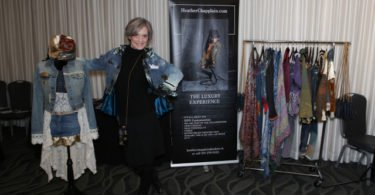 Heather Chapplain with clothing pieces