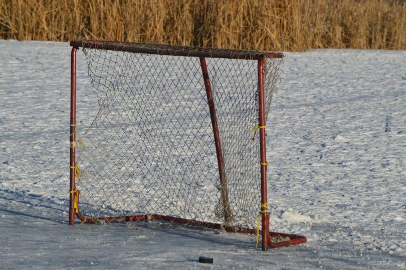 hockey net on pond
