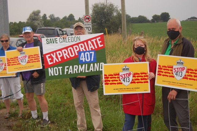 Group at Hwy 413 protest