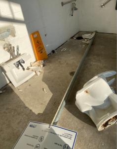 Damage in park washroom
